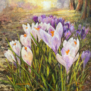 'Crocuses' oil painting