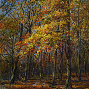 'Autumn Colour, Badbury Clump' oil painting