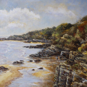 'Coastline near Borth-y-Gest' oil painting