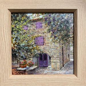 Purple Shutters oil painting