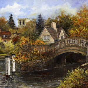 'Roving Bridge, Iffley Lock' oil painting