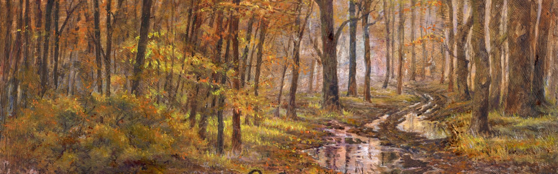 Woodland Puddles 50x20cm £180 framed